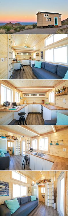 A 230-square-foot tiny house featuring a large U-shaped kitchen with tons of counter space. One end of the counter can be used as a dining table or desk.