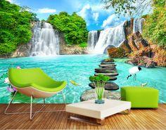 Custom 3D murales, paisaje cascada 3D tridimensional papel de parede, salón sofá fondo de la pared del dormitorio tv(China (Mainland))