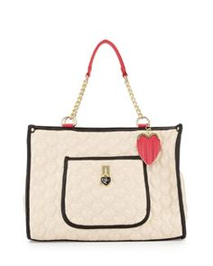 V27NW Betsey Johnson Be My Everything Quilted PVC Tote, Cream/Black/Fuchsia