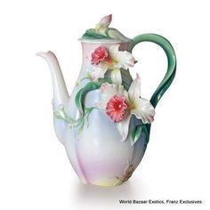 FZ01966 Franz Porcelain Tea for Two Orchid Flower Teapot special order