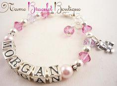 Baptism Gift for Girls Pearl Name Bracelet Custom by NameBracelets. , via Etsy.