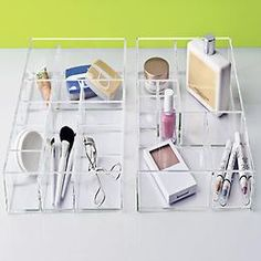 Large Stacking Acrylic Trays from The Container Store. Perfect for organizing makeup and brushes.