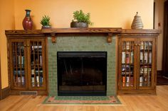 Terrific Screen Contemporary Fireplace tile Strategies Modern fireplace designs can cover a broader category compared to their contemporary counterparts. Craftsman Fireplace Mantels, Home Fireplace, Modern Fireplace, Brick Fireplace, Fireplace Design, Fireplaces, Country Fireplace, Fireplace Pictures, Farmhouse Fireplace