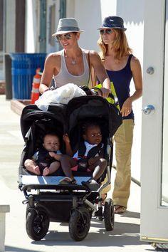 Jillian Michaels and family. Partner Heidi Rhoades, son Phoenix, and daughter Lukensia.