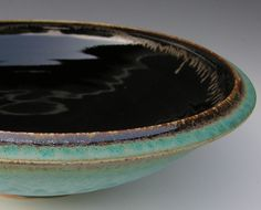 Extra Large Serving Bowl - Made to Order - Turquoise Brown and Black Ceramic Pottery. $130.00, via Etsy.
