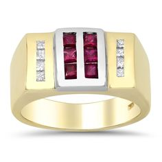 Artistry Collections 14k Yellow Gold 1/4ct TDW Diamond 3/4ct Ruby Ring (F-G, SI1-SI2) (Size 9), Women's, Red
