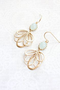 Seafoam Mint Glass Earrings Gold Filigree Earrings Long Dangle Earring Pretty Modern Gold Feather Bridesmaid Gift Bridal Jewelry Nickel Free by apocketofposies on Etsy https://www.etsy.com/listing/223972287/seafoam-mint-glass-earrings-gold