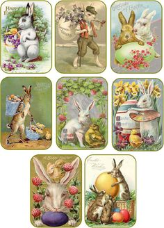 Vintage Easter 8 Bunny Rabbit Eggs Antique Pictures Tags Scrapbooking | eBay