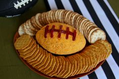 """Game Day Cheese Ball {if you don't have sport's fans your home, you can just form this into a normal ball without the """"laces""""}."""