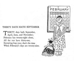 "Thirty Days Hath September    ""Childcraft, Volume One. Poems of Early Childhood."" Published by the Quarrie Corp in Chicago. Copyright 1923, 1931, 1934, 1935, 1937, and 1939. Edited by S. Edgar Farquhar and Patty Smith Hill. Art editor Milo Winter. 38 artists listed in addition to the work of Milo Winter.    Illustration appears to be by Billie Parks. It is in the same style as those on the facing page which were signed by Billie."