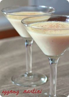 Christmas Time Eggnog Martini INGREDIENTS: 2 eggnog vanilla vodka Amaretto Source: Single Minded Women DIRECTIONS: Combine ingredients in shaker and shake over ice. Strain into chilled martini glass. Dust with freshly grated nutmeg. Party Drinks, Cocktail Drinks, Fun Drinks, Yummy Drinks, Cocktail Recipes, Alcoholic Drinks, Vanilla Vodka Drinks, Martini Party, Christmas Cocktails