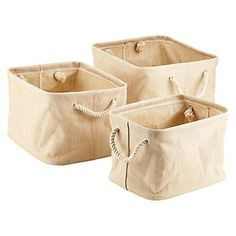"""Jute Bins with Rope Handles  Small 13-1/2"""" x 9-15/16"""" x 8-3/4"""" h"""