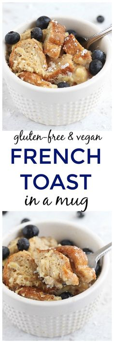 Vegan French Toast in a Mug - Breakfast doesn't get any easier than this gluten-free and vegan French Toast in a Mug! Naturally sweetened with a secret boost of protein, you'll have a delicious french toast breakfast in under five minutes!