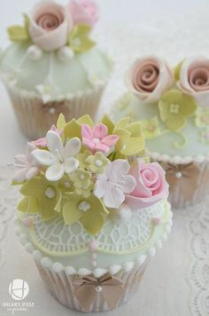 Vintage Tea Party Cupcakes! These are so pretty with the little delicate flowers and pastel colors!