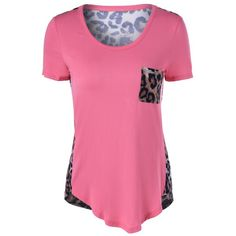 Short Sleeves U-Neck Leopard T-Shirt — 7.94 € -------------------Size: 3XL Color: LIGHT PINK