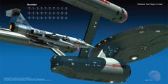 """November: Whatever This Thing Is, It's Big by Douglas E. Graves - """"Captain John Christopher's F-104 Starfighter is flying alongside the USS Enterprise. This painting is based on events seen in the episode """"Tomorrow is Yesterday""""."""""""