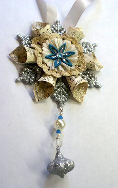 DIY vintage paper snowflake ornament