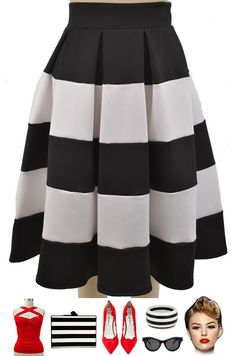 BRAND NEW in store at Le Bomb Shop! The En Vogue Black & White Stripe Highwaist Full Skirt! Only $30 with Free U.S. s/h.. Buy yours here: http://lebombshop.net/products/black-white-stripe-highwaist-full-skirt