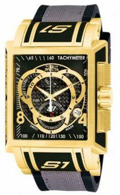 Relógio Invicta Men's 11691 S1 Chronograph Black Dial Black Polyurethane and Grey Nylon Watch #Relogios #Invicta