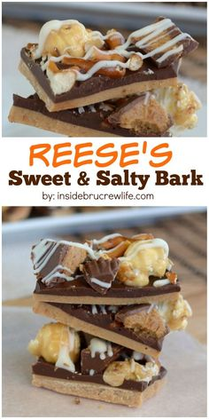 This easy no bake chocolate treat has peanut butter cups and pretzels for a great sweet and salty taste.