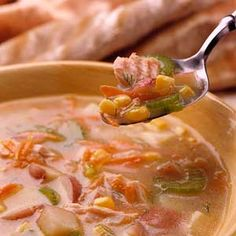 Combine salmon, fat-free milk, and reduced-sodium broth to make this heart-healthy dinnertime soup recipe. /