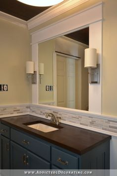 Easy DIY Vanity Mirror With Sconces  see overhead light and sconces