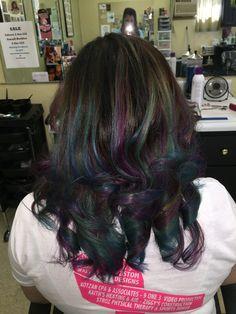 """""""Oil slick"""" hair"""