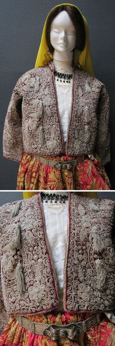 Close-ups of a traditional bridal costume from the Ínönü district of Eskişehir town. Circa 1990. The clothing style goes back to c. 1900, and is part of the cultural inheritance of Muslim emigrants from Macedonia. The costume was still in use in the late 1990s. The base of the dress are a heavily embroidered vest (called 'sarka') + very wide hand-embroidered baggy trousers (called 'pesent'). The silvery belt is antique (c. 1900). (Kavak Folklor Ekibi&Costume Collection-Antwerpen/Belgium).