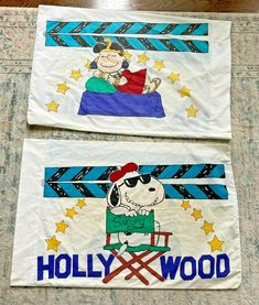 Vintage Snoopy & Lucy HOLLYWOOD MOVIE QUEEN Pillowcases Set of 2 #Cannon Picnic Blanket, Outdoor Blanket, Vintage Bedding, Peanuts Gang, Pillowcases, Cannon, Snoopy, Hollywood, Queen
