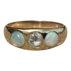 Antique Opal Ring With Rose Cut Diamond by BrocktonGems on Etsy Cheap Engagement Rings, Vintage Engagement Rings, Ring Engagement, Vintage Gypsy, Vintage Roses, Opal Jewelry, Unique Jewelry, Jewellery, Gypsy Rings