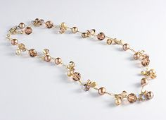 Brown Necklace Topaz Crystal and Brown Pearl by BethDevineDesigns, $134.00
