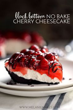 No one will ever guess this Black Bottom No Bake Cherry Cheesecake takes just 10 minutes to prepare. A puddle of chocolate ganache fills an Oreo crust that is then topped with no bake cheesecake filling. Cherry pie filling creates a colorful contrast over No Bake Cheesecake Filling, No Bake Cherry Cheesecake, No Bake Chocolate Cheesecake, White Chocolate Chip Cookies, Chocolate Cherry, Cheesecake Recipes, Chocolate Ganache, Brownie Cheesecake, Chocolate Chips