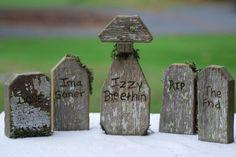 Primitive Halloween Gravestones/ Set of 5/ Handmade from Re-claimed Lumber. $30.00, via Etsy.