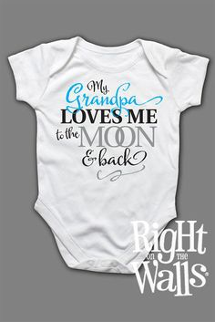 Baby Onesie Grandma or Grandpa Custom to Moon & Back Clothes Short Sleeve Shirt for Babies Grandfather Grandmother T-Shirt tshirt on Etsy, $14.95