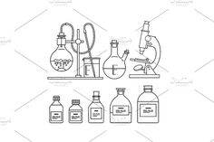 Chemical glassware icons set by Sunny on @creativemarket