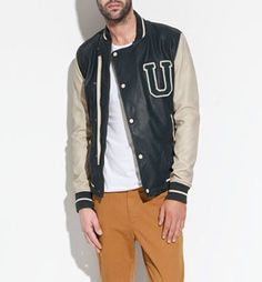 Zara New College Wind Pu Leather Jacket Mens [zara college jacket] - $100.00 : Buy Varsity Jackets Online, Varsity Jackets Sale 2012