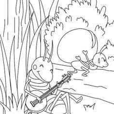 coloriages de la fable La Cigale et la Fourmi   Cigale et ...