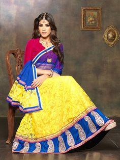 Thankar yellow and pink lehenga choli Pakistani Lehenga, Anarkali, Net Lehenga, Buy Lehenga Online, Yellow Lehenga, Party Wear Lehenga, Lehenga Collection, Indian Bollywood