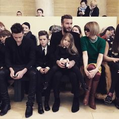 Front Row at Victoria Beckham Fall 2015 David and the kids, plus Anna Wintour