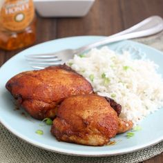 Spicy Honey-Brushed Chicken Thighs - a PERFECT recipe - really flavorful and incredibly simple.  Makes a great weeknight dinner!