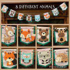 Owls,Foxes,Bunnies,Nursery Bunting Flag Pendant Banner Garland,Nursery Decor,Girl/'s Bedroom Banner,Photo Prop,Banner PINK WOODLAND DECOR