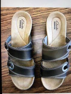 b91aa55db5fa Clarks Hayla Acadia Womens 9.5 M Sandal Slide Pewter Leather Sandals Shoes  EUC  fashion