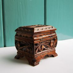 Ukrainian Hand Made Carved, Small Wooden Trinket Box