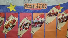This school featured class pictures on rockets to display monthly, whole class attendance. Students were very excited to see their pictures up on the walls of the school!
