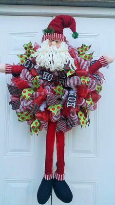 Jolly Old St. Nick -Whimsical Santa Wreath-Large Santa Wreath-Santa Wreath-Deco Mesh Christmas Wreath-Holiday Wreath-Santa Clause Wreath