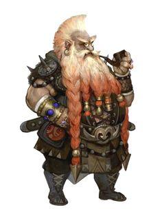 Male Dwarf Smoking Merchant - Pathfinder PFRPG DND D&D d20 fantasy