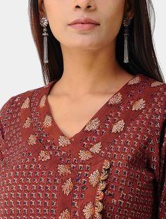 Madder Ajrakh-printed Cotton Angrakha Kurta Salwar Neck Designs, Churidar Designs, Kurta Neck Design, Neck Designs For Suits, Neckline Designs, Kurta Designs Women, Dress Neck Designs, Designs For Dresses, Blouse Designs