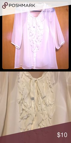 Sheer white blouse -- Old Navy Sheer white blouse from Old Navy. 3/4 length sleeves, comes with camp underneath. Old Navy Tops Blouses