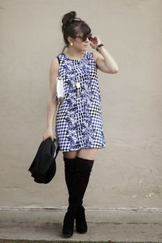 blue printed dress a