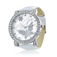 Bling Jewelry Womens CZ Butterfly White Leather Style Watch only $24.99